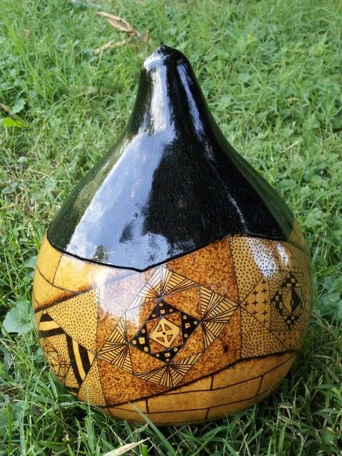Quilt Banded #pyrography #gourd bowl, by @snpcrafts. Has a beautiful metallic blue interior! Available at Hands of the Hill, downtown BG, Ky. (until sold)