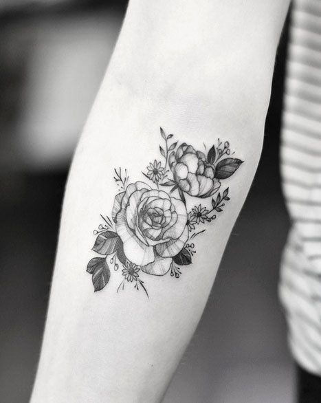 Small Flower Tattoo Forearm Black And White Flower Forearm Tattoo