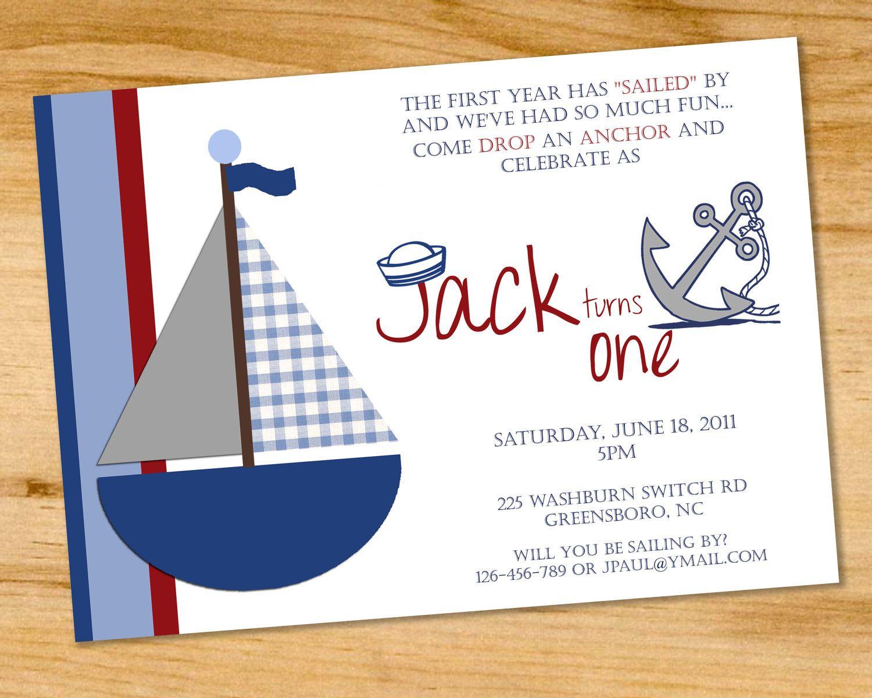 Sailboat First Birthday Invitation - Nautical Theme - First Birthday ...