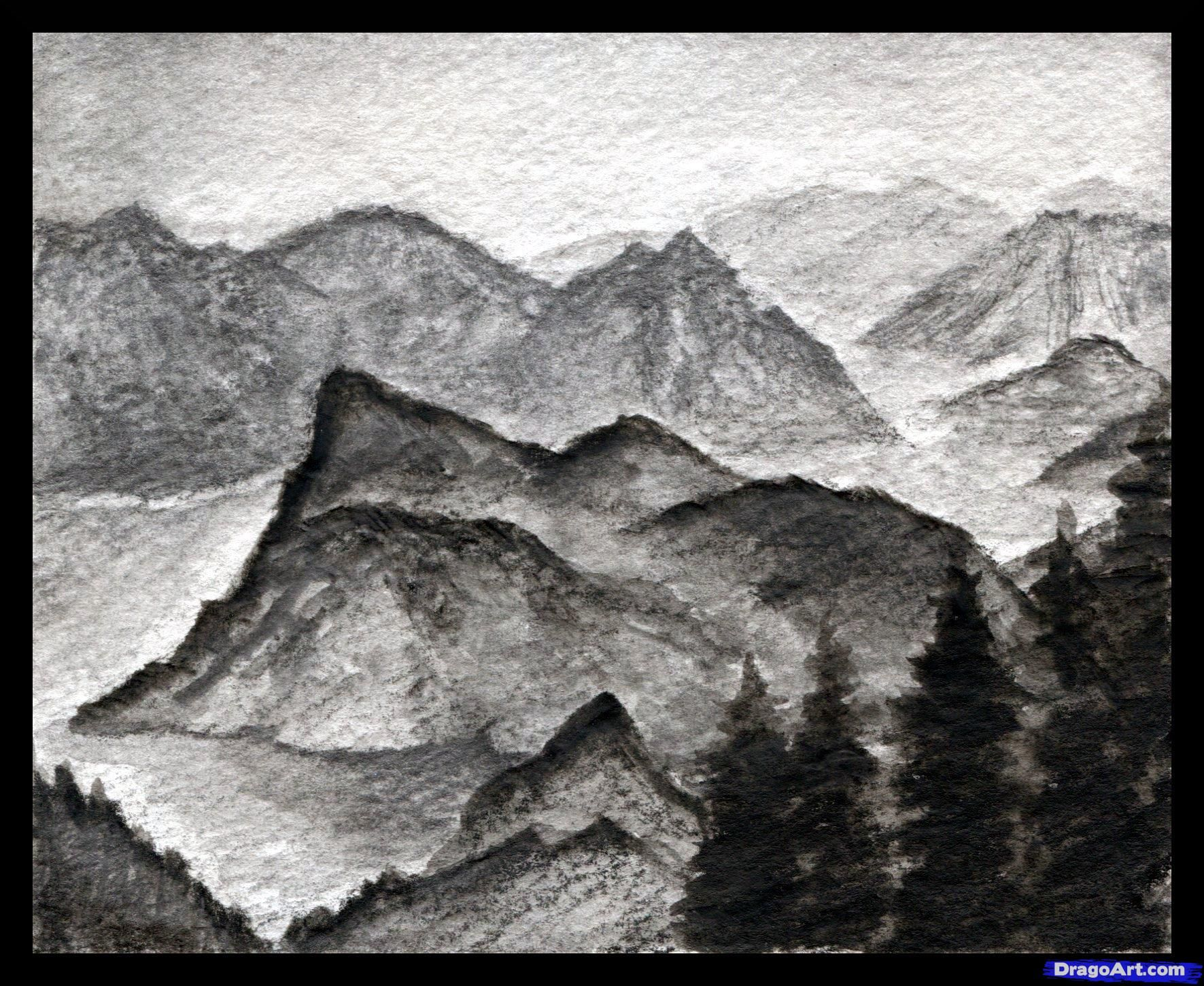 How To Draw A Realistic Landscape Draw Realistic Mountains By Finalprodigy Mountain Sketch Sketches Drawings
