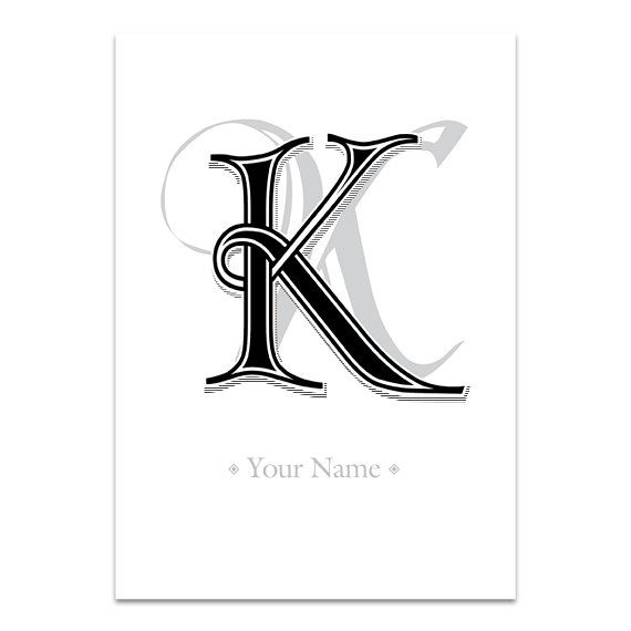 Items Similar To Letter K MONOGRAM And Letters Typography Wall