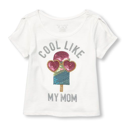 35f097c602158 Toddler Girls Short Sleeve Cold Shoulder Sequin Embellished Graphic ...