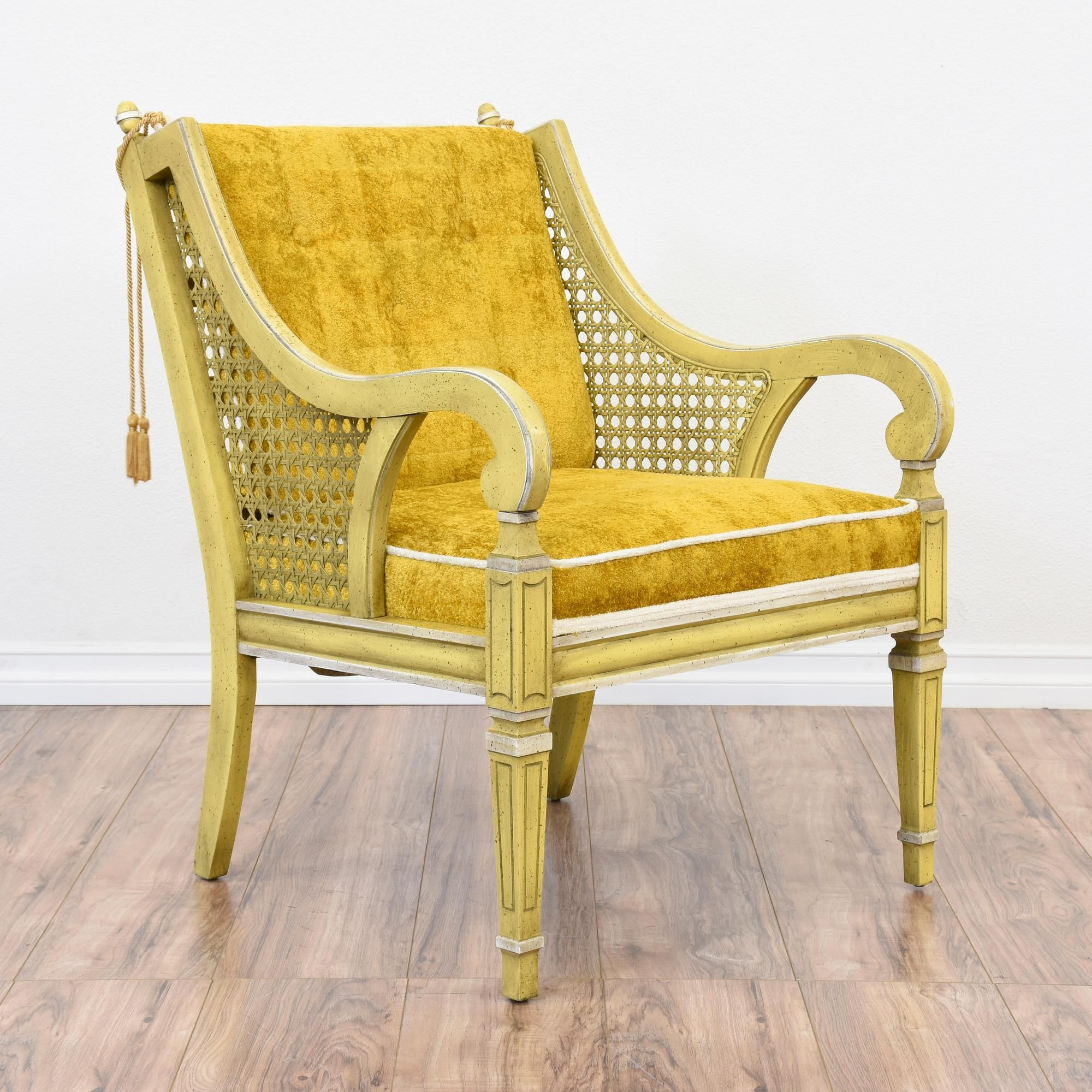 Attractive This Eclectic Armchair Is Featured In A Solid Wood Painted In An Antiqued  Yellow Finish And