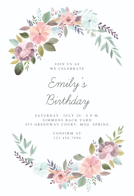 Soft Floral Birthday Invitation Template Greetings Island Birthday Invitation Card Template Floral Birthday Invitations Baby Birthday Invitations