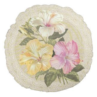 Hibiscus, rose mallow & lace floral vintage pillow round pillow