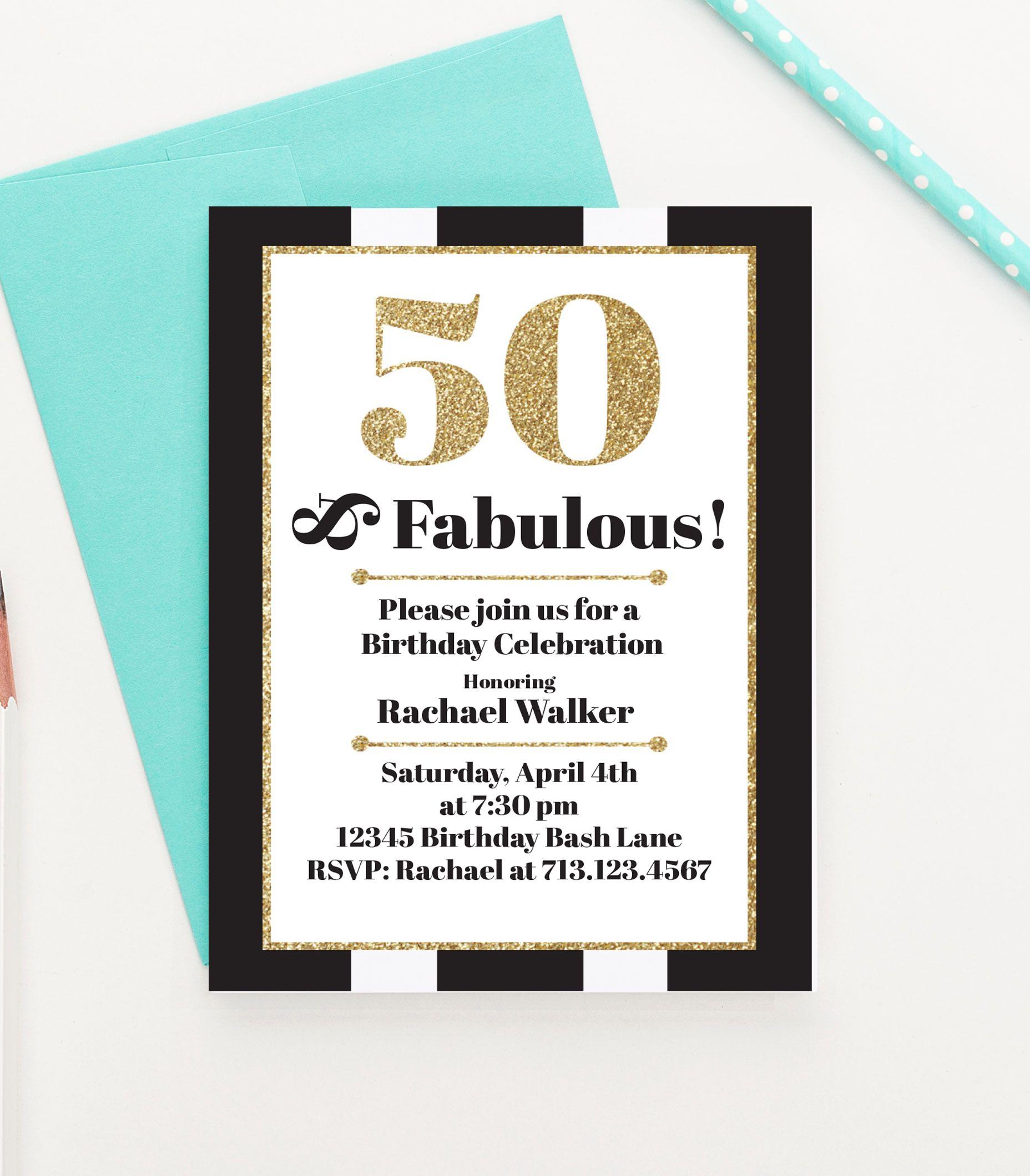50 and Fabulous Birthday Invitations, Milestone Birthday Party ...