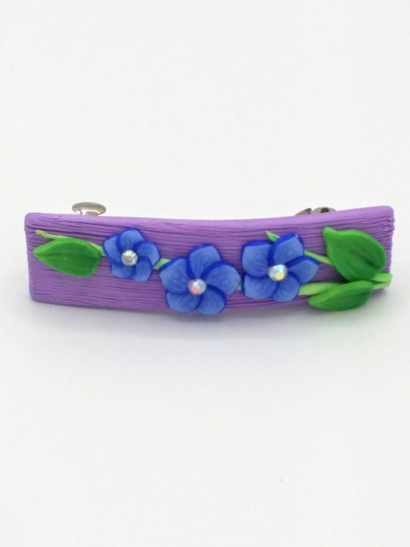 Blue Flower Barrette 2 Inches; Indigo Spring Blossom; Floral Hair Accessory Fashion; Style No: BLF07 by EmilyMah on Etsy