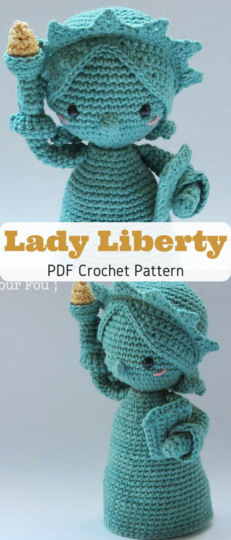 Sweetest Lady Liberty ever! Make your own little stuffed Lady Liberty toy with this crochet pattern #ladyliberty #ad #crochetpattern #stuffedtoyspatterns