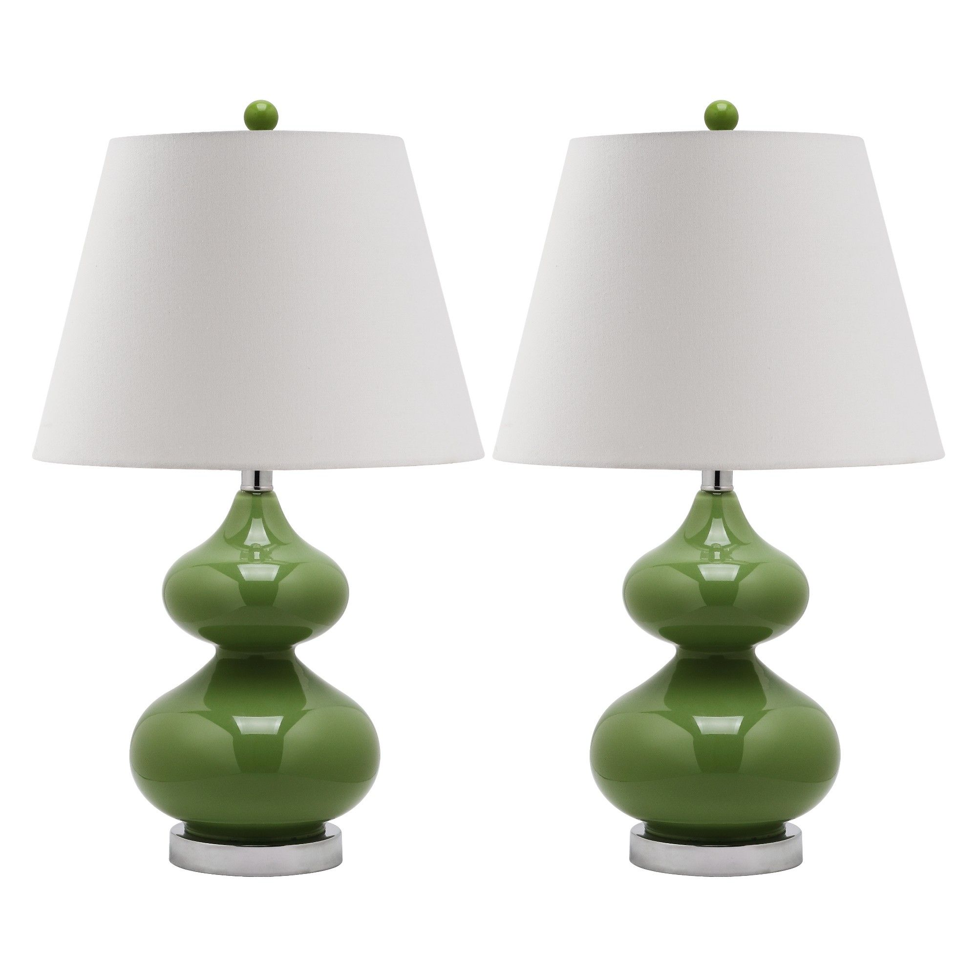 Table Lamp Green/White (Includes Energy Efficient Light