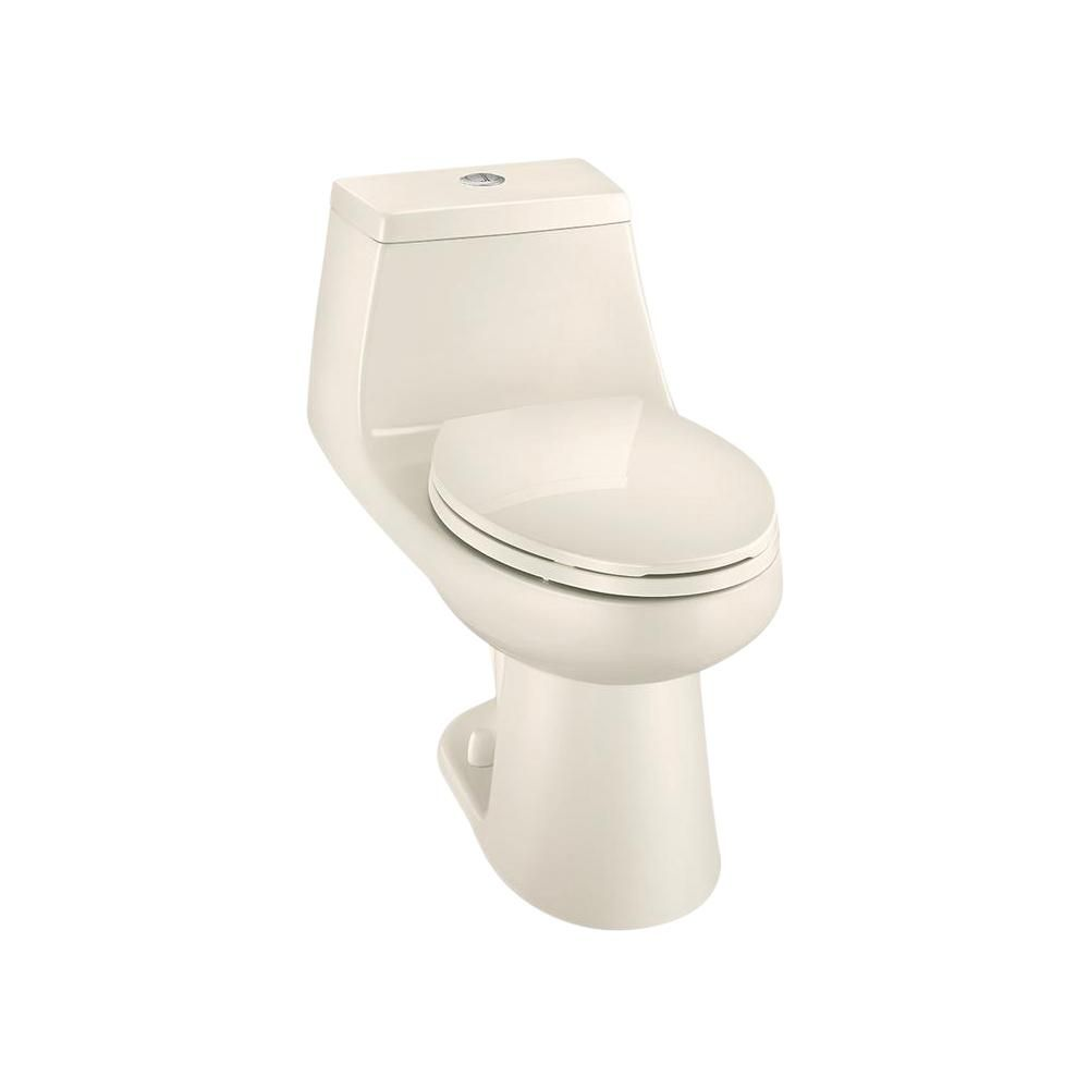 Glacier Bay 1 Piece 1 1 Gpf 1 6 Gpf High Efficiency Dual Flush Elongated All In One Toilet In Biscuit Toilet Dual Flush Toilet Home Depot