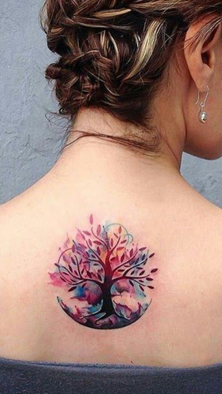 I love this watercolor tree tattoo from instagram tattootwotimes