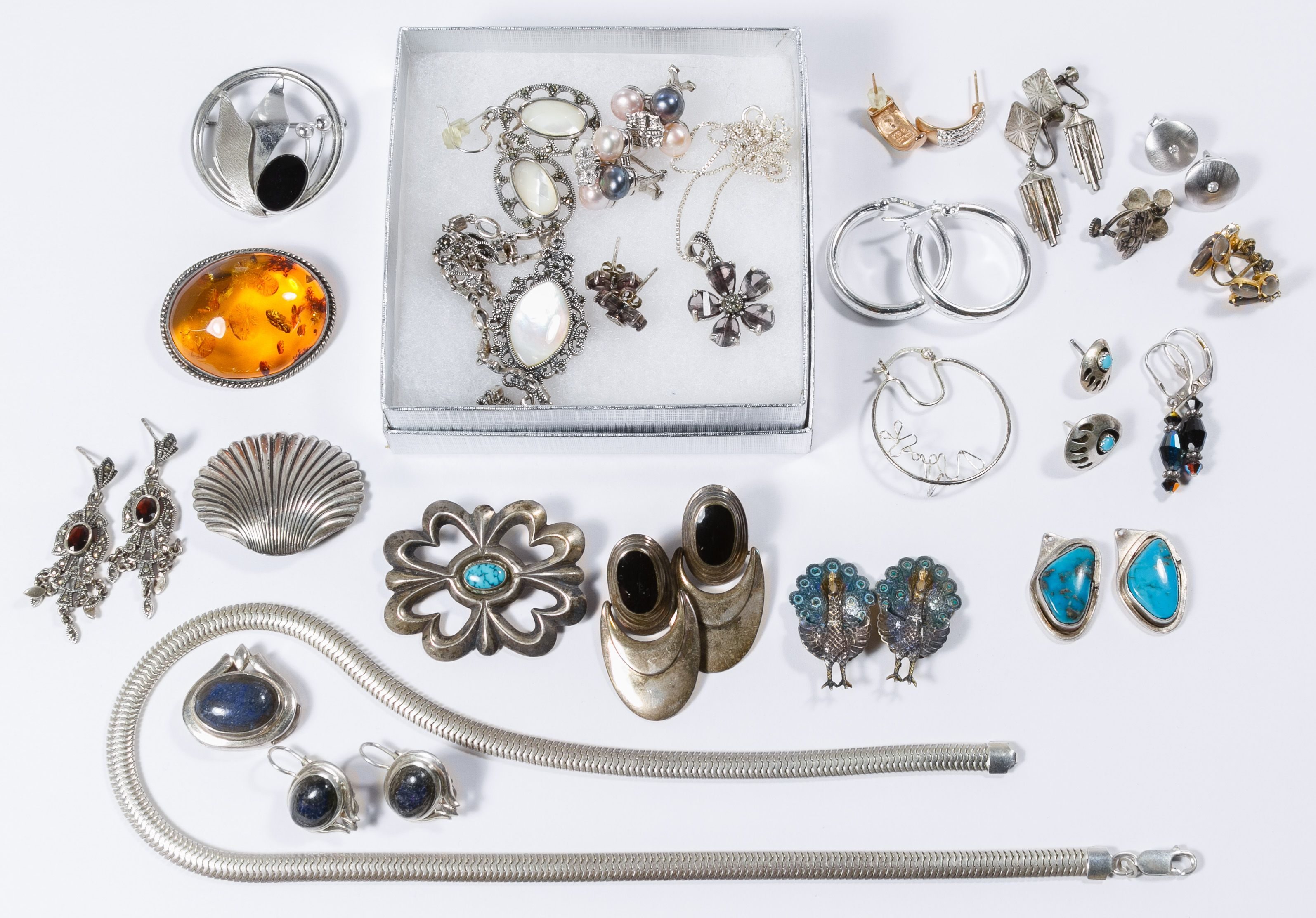 494d17b0d Lot 628: Sterling Silver Earrings and Pendant Assortment; Most marked  sterling or 925