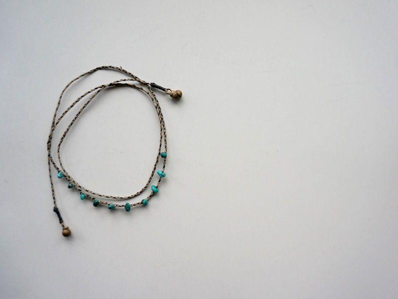 Linen Cord & Turquoise Braid 3way
