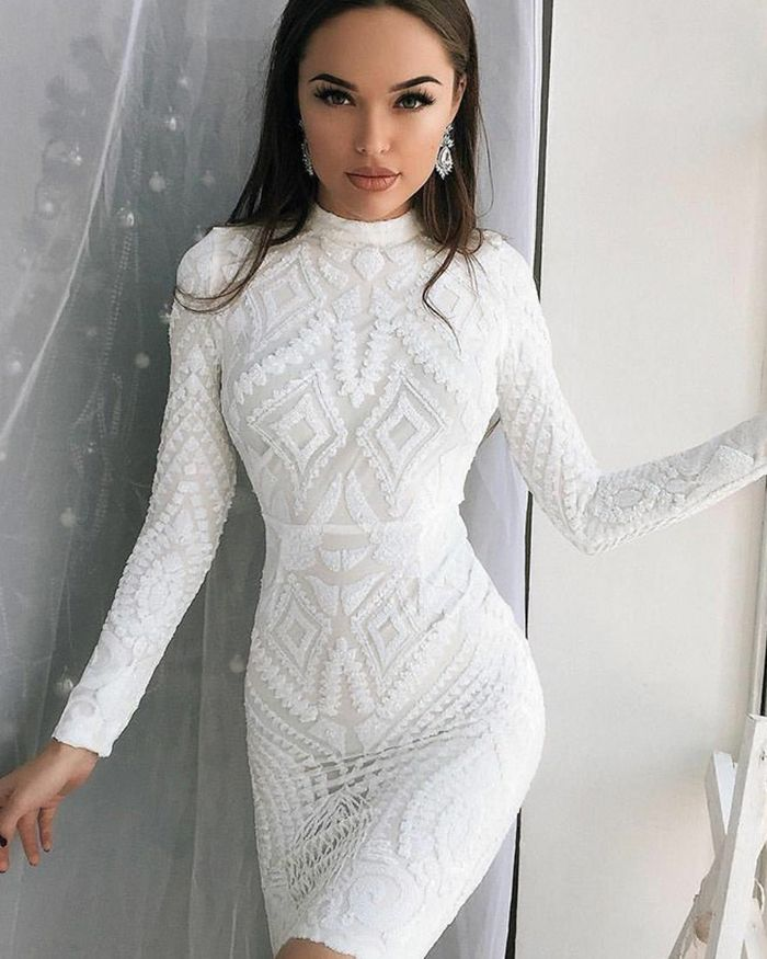 High Neck White Lace Bodycon Club Dress With Long Sleeves