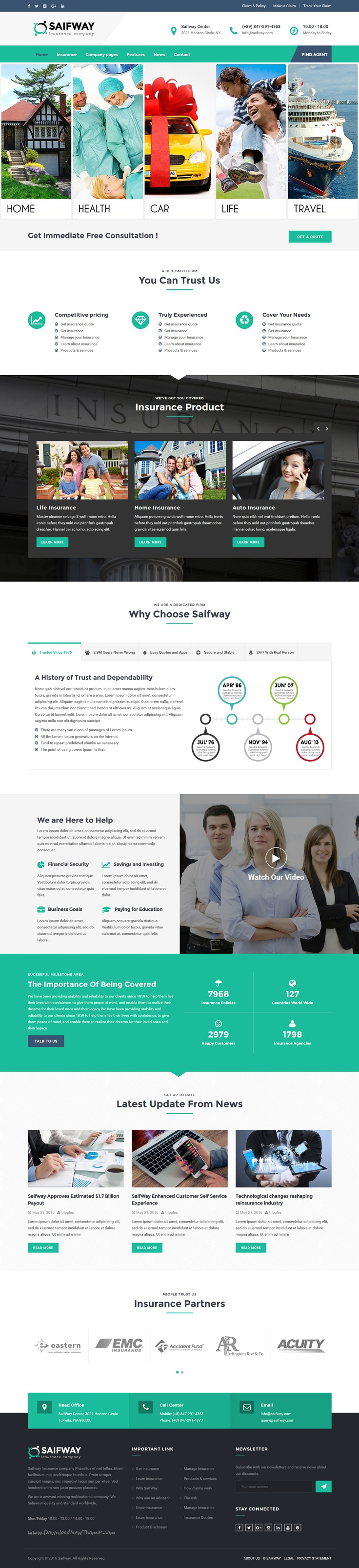 Saifway is a clean and professional 6 in 1 #WordPress theme specially designed for financial and #insurance business #website download now➝ https://themeforest.net/item/saifway-insurance-agency-wordpress-theme/16293623?ref=Datasata
