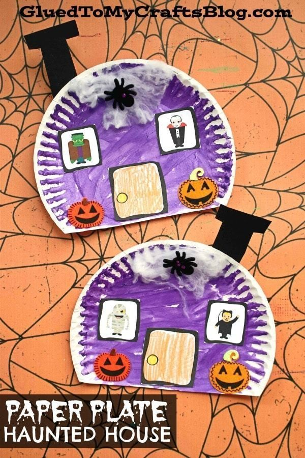 #gluedtomycrafts Paper Plate Haunted Halloween House - Kid Craft - A great art project for kids to recreate this fall season! Free PRINTABLE included to get you started with ease today! Cute idea for Halloween speech therapy!