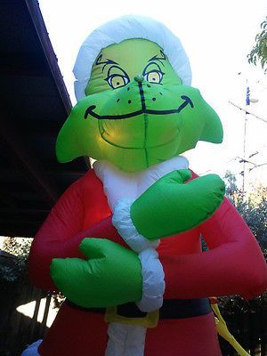 Gemmy Airblown Inflatable Blow Up Grinch Max Christmas Yard Display 8 Ft Ebay Christmas And
