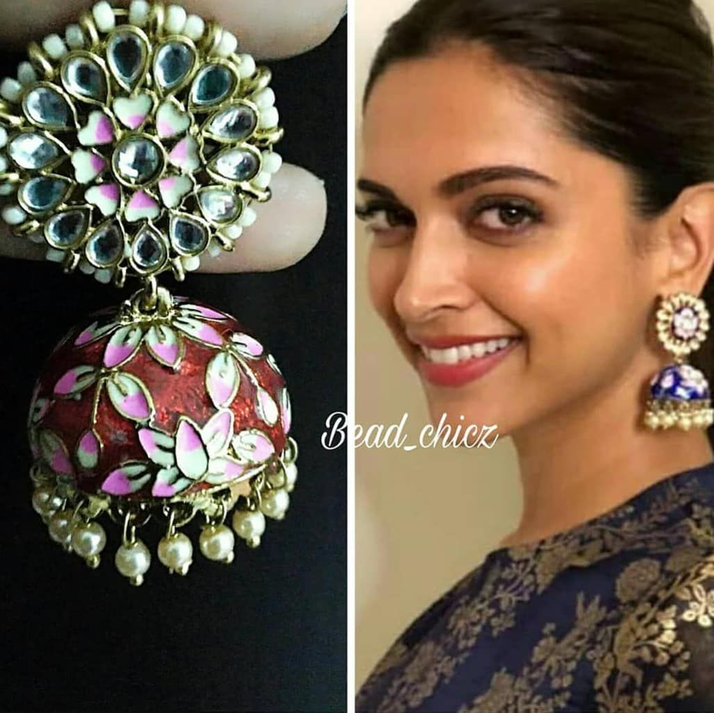 Deepika Fame Meenakari Jhumka With Kundan Stone And Floral Enamel Pattern Deepikapadukone Accessories Earri Kundan Earrings Earrings Enamel Jewelry