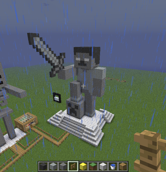 how to build a wither skeleton statue in minecraft