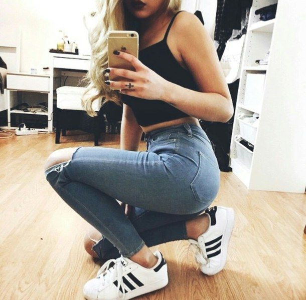 adidas, adidas shoes, beautiful, beauty, black, black nails, blonde,