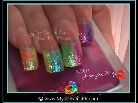 Rainbow Summer Sparkle Acrylic Nails Jennifer Perez Of Mystic Nails Youtube Summer Nails Colors Designs Summer Sparkle Nails Eye Nail Art