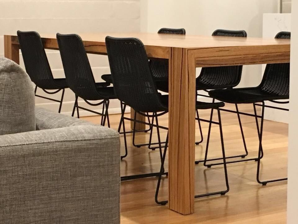Recycled Messmate blend dining table with waterfall leg detail. Timber Revival, made in Melbourne, shipping Australia-wide. #customtable #recycledtimbermelbourne #melbournerecycledtimber #melbournewoodwork #melbournefurniture #melbournemakers #reclaimedtimbermelbourne #salvagedtimber #melbswest #melbourne #melbournejoinery #melbournedesign #melbourneinteriors #brighton #melbournetimber #furnituremaking #hardwood #bespoketable #diningtable #timbertable #australiantimber #vicwoodworkers