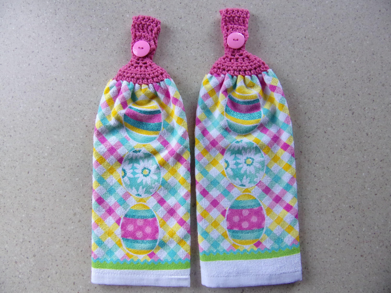 hanging kitchen dish towels set of 2, Easter kitchen towel