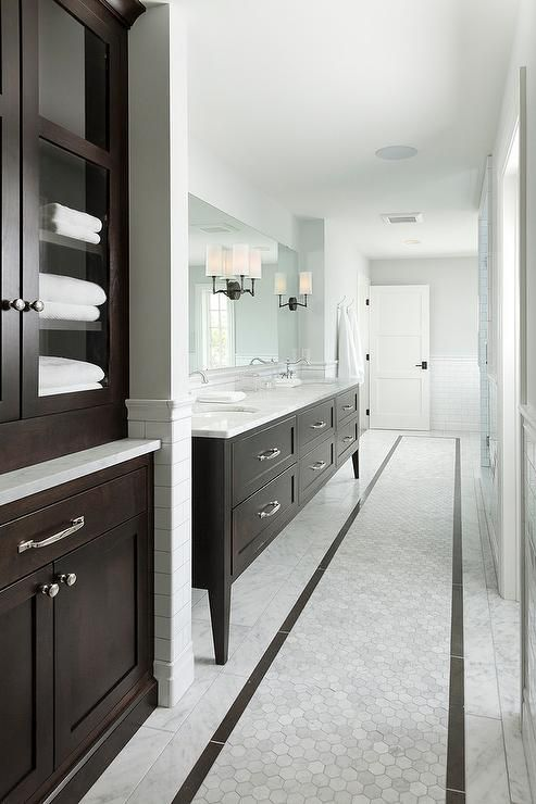 Long Brown And White Bathroom Features A Chocolate Brown