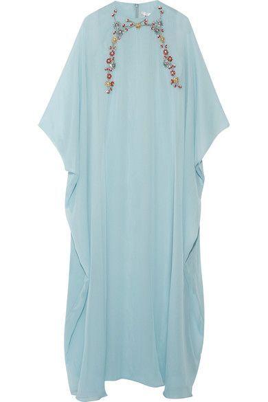 Reem Acra - Embellished Silk-chiffon Gown - Sky blue - x small