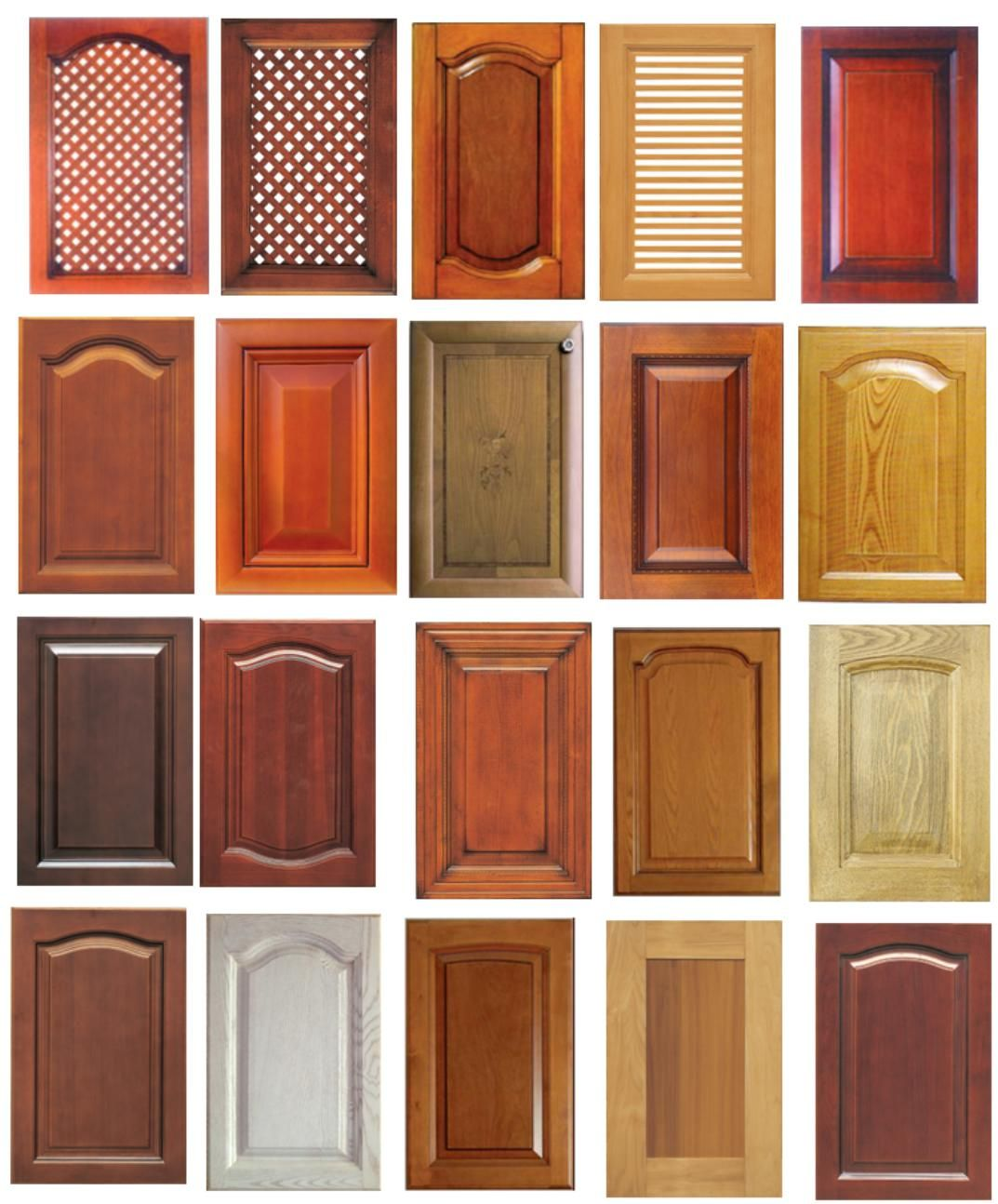 Solid Wood Kitchen Cabinet Door Designs Natural Component Stained Many Color Brown Purple White Cream Creation
