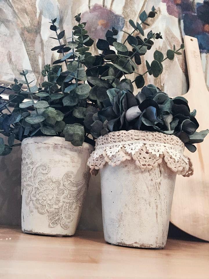 декор цветочных горшков своими руками фото в винтажном стиле после долгих