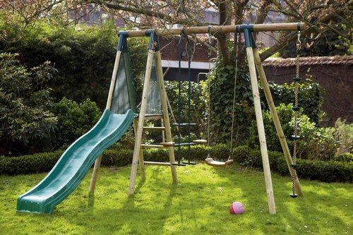 Portique balan oire et tobogan en bois cerland plein air for Balancoire jardin bois