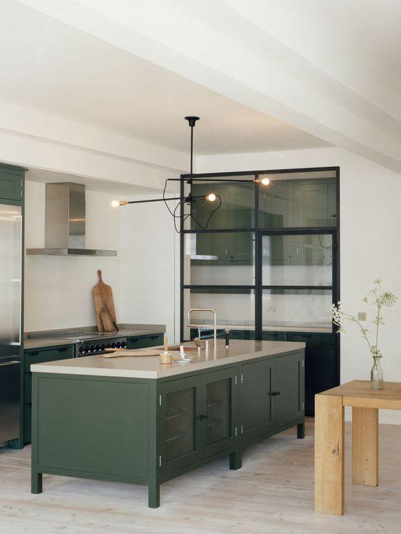 Dark Green Kitchen Island Dark Green Kitchen Green Kitchen Cabinets Kitchen Cabinet Design