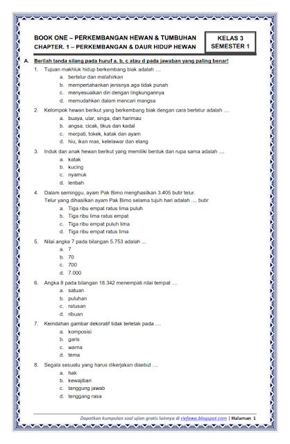 Soal Tematik Kelas 1 Tema 1 Pdf : tematik, kelas