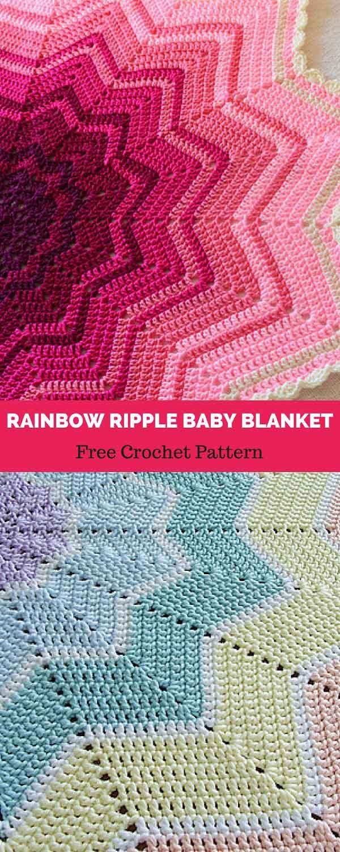 Rainbow Ripple Baby Blanket [ FREE CROCHET PATTERN | Pinterest | Häkeln