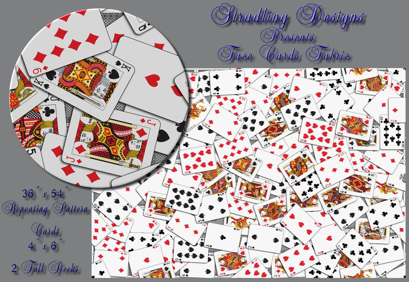 Playing cards fabric pattern seamless with black card backs. This is going to make someone a beautiful shirt!  Also available as wallpaper and gift wrap.