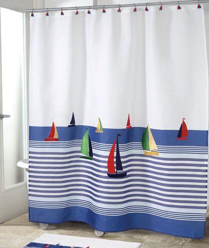 Regatta Nautical Shower Curtain Beach House Bath Bath Room Decor