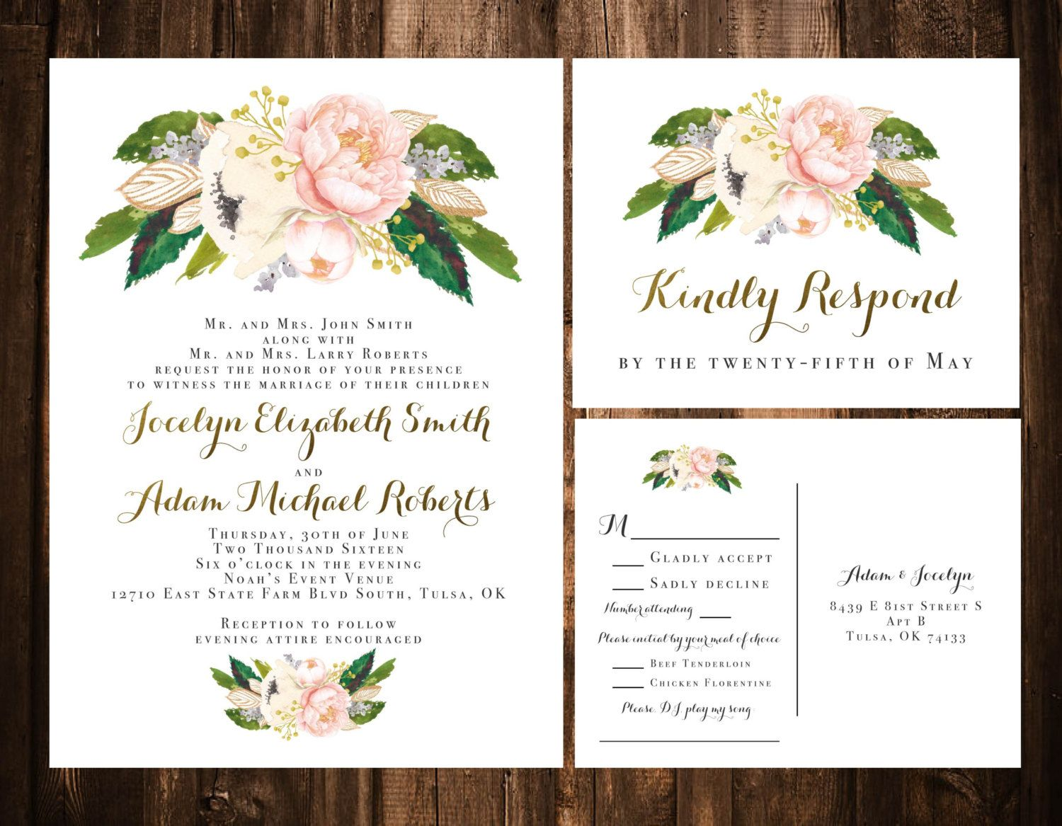 Blush & Gold Floral Wedding Invitations; Watercolor; Printable OR ...