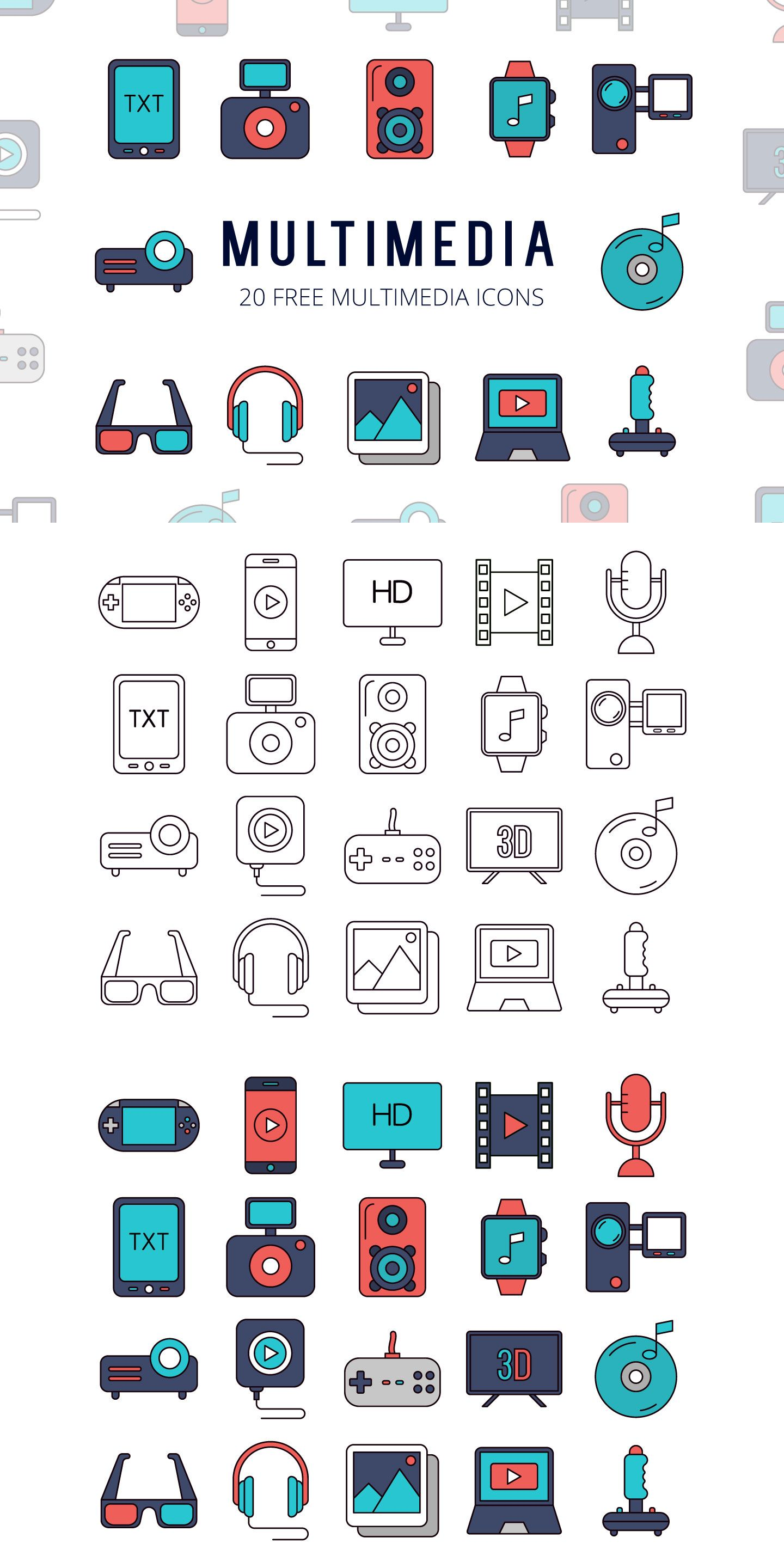 We publish the Multimedia Vector Free Icon Set