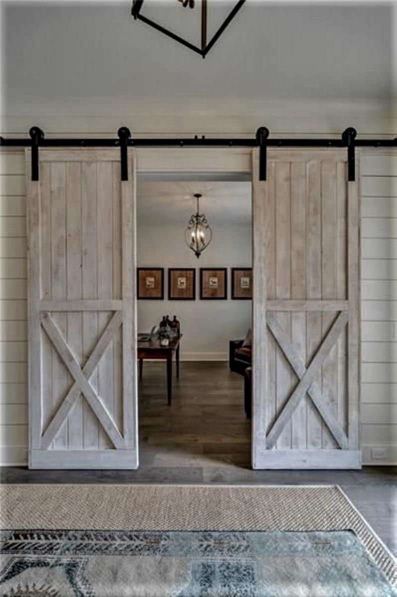 Double Barn Doors Hardware Option 6 6 Ft Sliding Double Barn Etsy In 2020 Double Barn Doors Custom Barn Doors Interior Barn Doors
