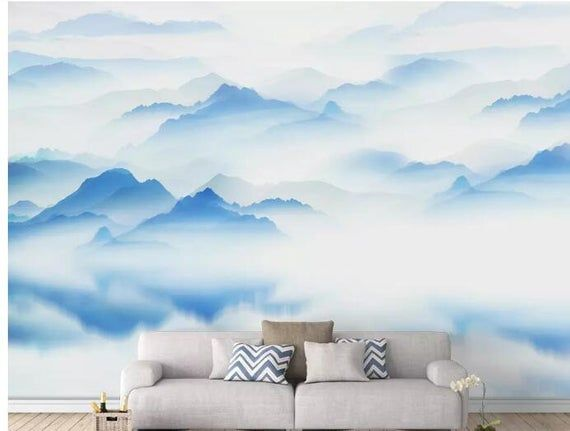 Ink Hand Painted Abstract Mountains And Coluds Custom Wallpaper Modern High Quality Blue Mountains Wall Murals Painted Wall Murals Abstract Decal