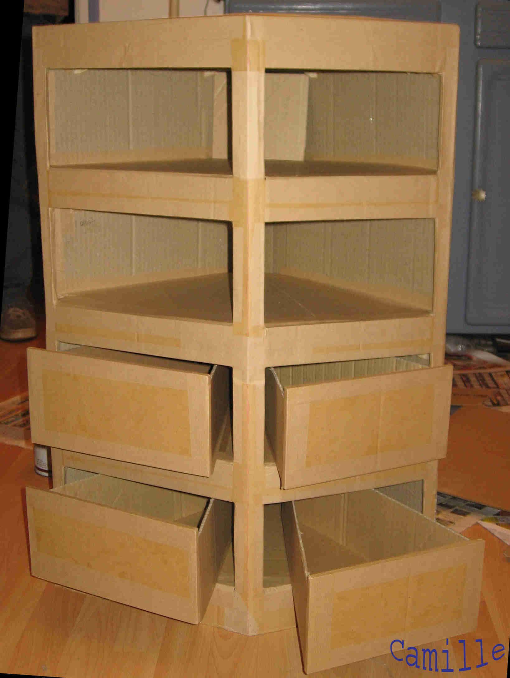 Comment Creer Un Meuble En Carton Rangement Carton Mobilier En Carton Travaux Manuels Boite En Carton