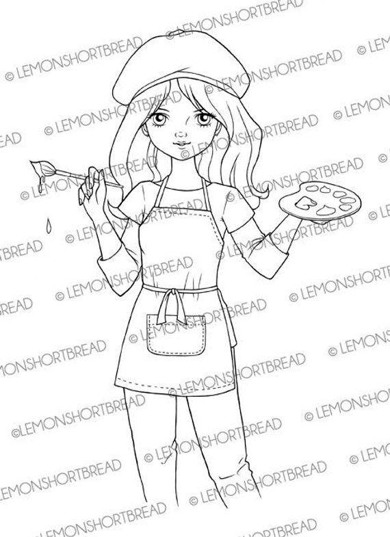 Digital Stamp Painter Girl Artist Palette Digi Download For Etsy Digital Stamps Painter Girl Artist Palette