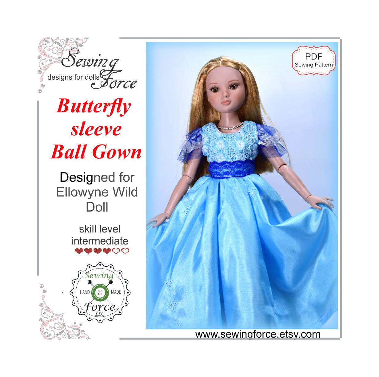 Tonner Charming Dress Doll Clothes Sewing Pattern for Ellowyne Wilde