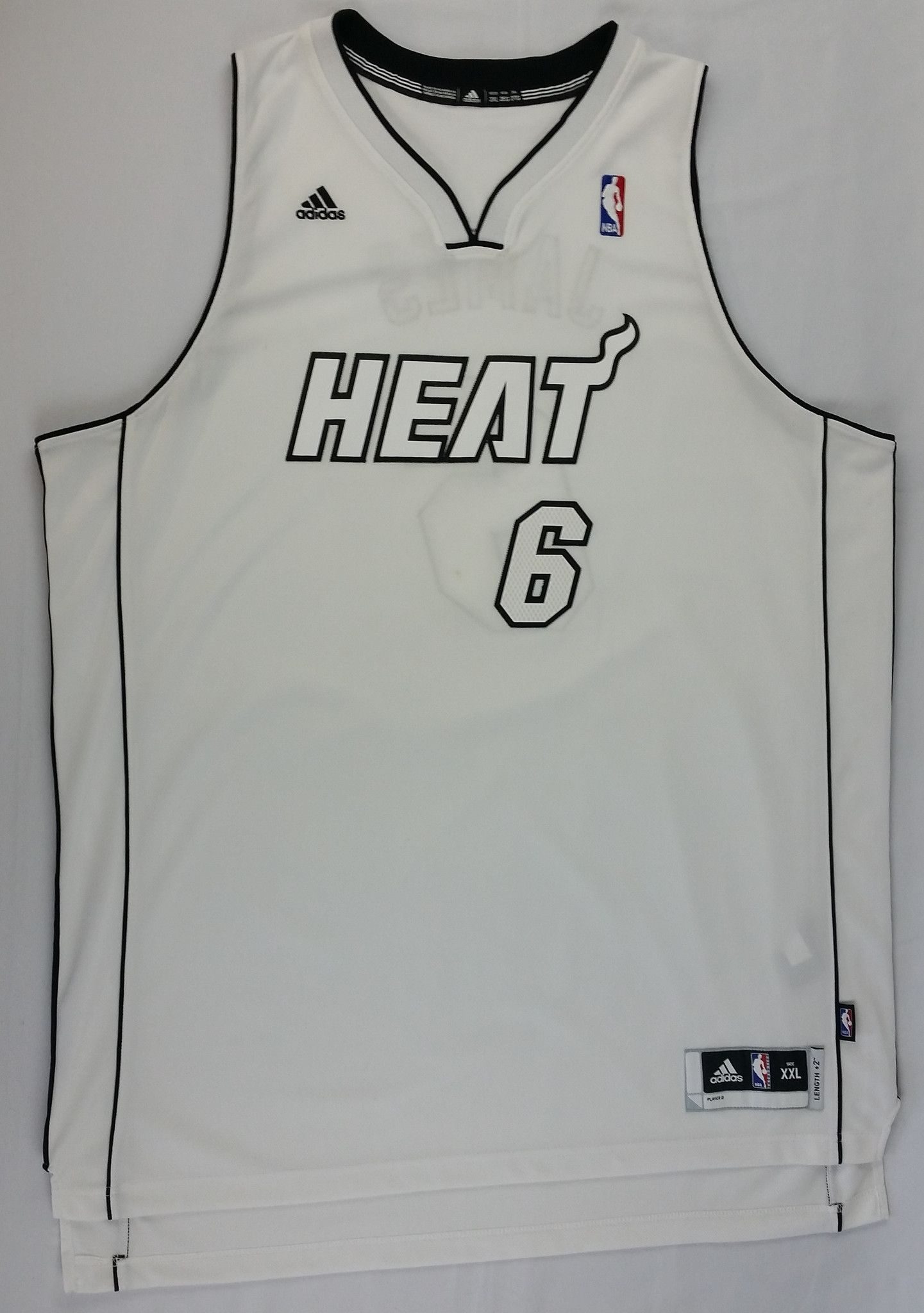 outlet store 2a4ff d823b Lebron James #6 Miami Heat Jersey Adidas NBA Authentic White ...
