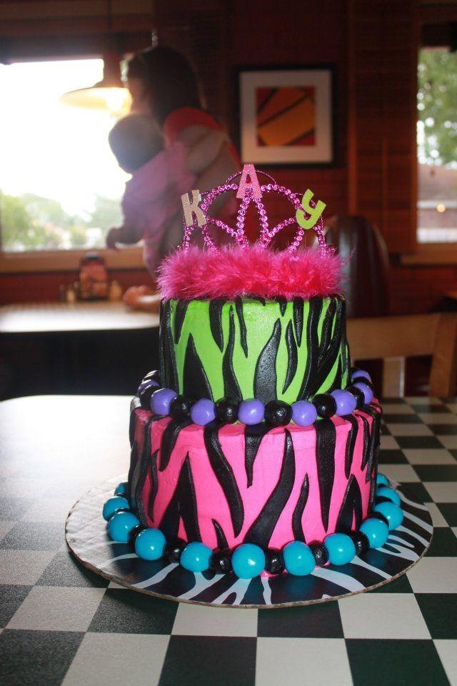 Zebra print birthday cake DanceCheerSassy 7th Birthday