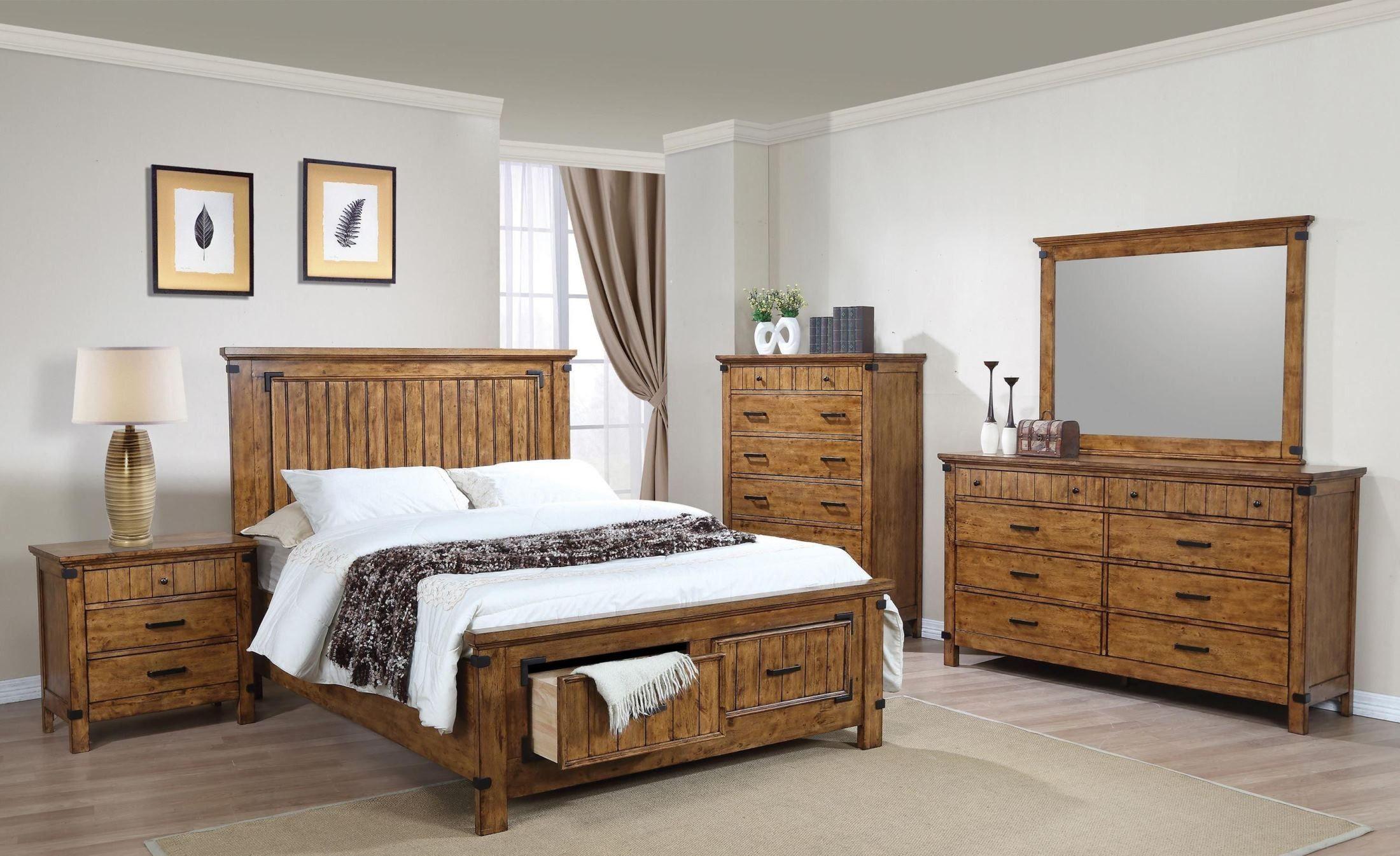 Brenner Rustic Honey Storage Panel Bedroom Set In 2021 Oak Bedroom Furniture King Bedroom Sets Bedroom Set
