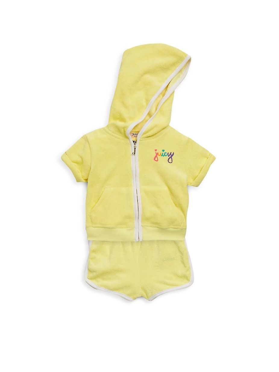 Juicy Couture Baby s Two-Piece Logo Hoodie and Shorts Set ... 465ffaed3