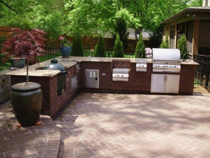 outdoor küche moderne außenküche mit ziegeln | Gartengestaltung ...