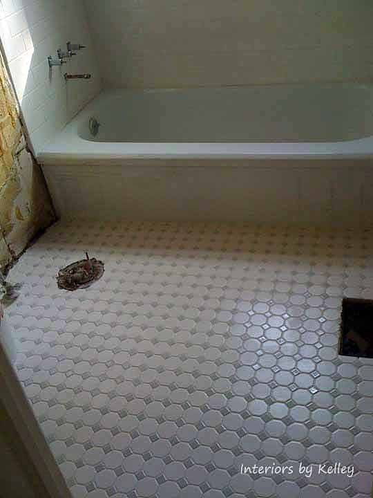 Whitegrey Octagon Dot Floor Tile W White Grout Girls Bathroom 20